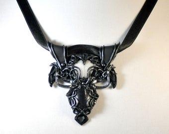 Elven Pendant, Fantasy Jewelry, Fantasy Necklace, Elven Jewelry, Cosplay Jewelry, White Agate Jewelry, Zebra Marble Jewelry