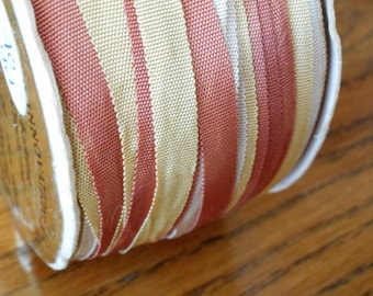 1 Spool VINTAGE Varigated White Yellow & Rust Ribbon Yarn Sewing Craft APPLIQUE