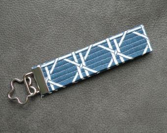 Blue White Lattice Fabric Key Fob Wristlet