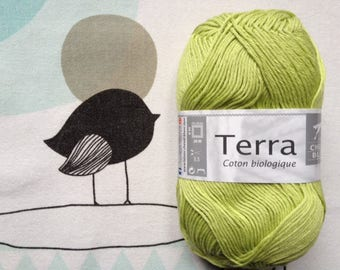 WOOL TERRA lime - white horse
