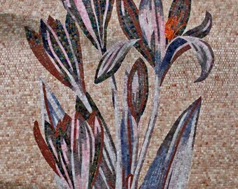 Lilies Flowers Glass Tiles Mosaic