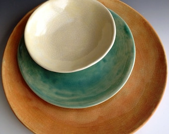 Handmade organic color combo crackle place setting, slab dinner plate, side plate and dessert bowl by Leslie Freeman