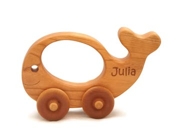 Wooden Toy Car Whale Push Car - Personalized Toddler Toy - Montessori