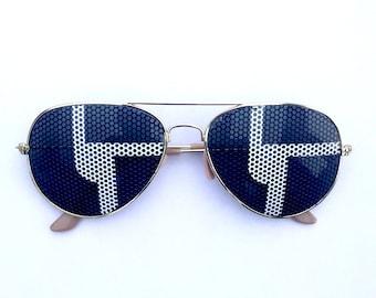 Disco Biscuits Minimal Black & White Graphic Aviator Festival Sunglasses
