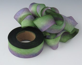 A Hanah Hand Dyed Silk Ribbon ,Hand Dyed Silk Ribbon, bias-cut 1 inch wide