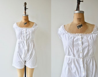 Edwardian cotton romper | antique 1900s lingerie | vintage bloomers
