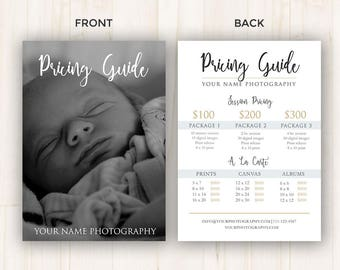 Pricing Guide Template, Price Guide for Photographers - Photoshop Template, PSD *INSTANT DOWNLOAD*