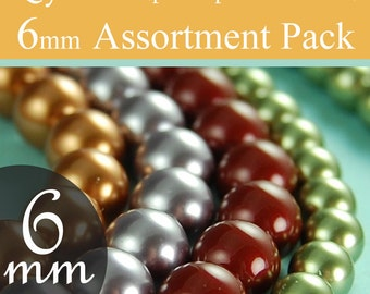 Swarovski crystal beads pearl beads assorted diy kit 6mm beads, You pick the colors, packages of 10 (100 total)
