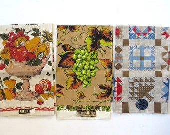 Vintage Lot of 3 NEW Linen Dish Towels