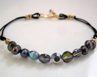 String Bracelet-Swarovski Bracelet-Stackable Bracelet-Black String Bracelet-Crystal Bracelet-Smokey Quartz Crystal-Pearl String Bracelet