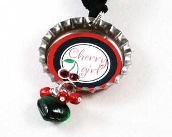 Cherry themed bottlecap necklace/bracelet with charm dangle