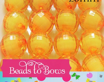 20mm Gold Bead In A Bead, Bubblegum Beads, Faceted Chunky Beads, Transparent Bubblegum Bead, Chunky Necklace Supply Bead, Jewelry Bead