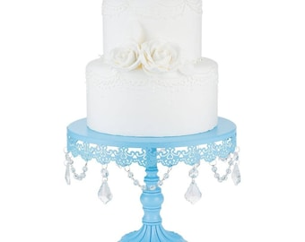 Baby Blue Sophia Collection Crystal Cake Stand - 25cm D