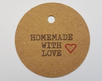 10x Homemade with love tags, love tags, handmade tags, swing tags, gift tags, homemade labels, love, love labels, product tags, tags, labels