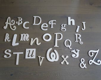 Wooden ABC Set, Room Decor, Wooden alphabet Set, Wall Decor - UNPAINTED