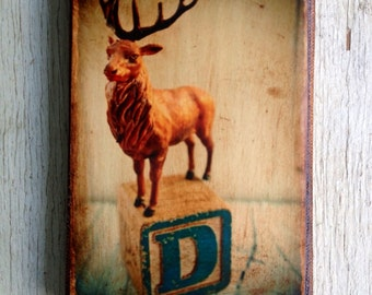 Vintage Toy D is for Deer Art/Photo - Wall Art 4x6