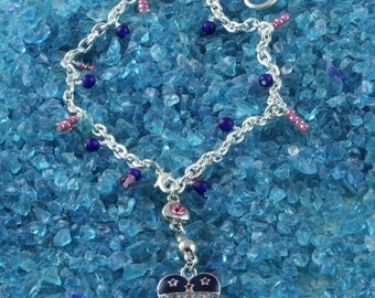 Handmade Double Heart Silver Anklet in Pink and Blue