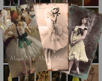 Dancers Collage Sheet - Altered Art, Ballet, Burlesque, Degas Paintings - Digital Download - Printable