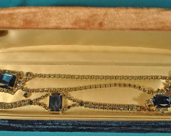 Vintage Dark Blue Rhinestones 4-PC Set Necklace, Bracelet and Earring Set