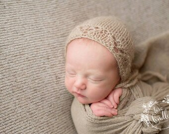 Newborn Bonnet ,Baby bonnet ,Newborn  Knit Beige Hat , Baby Mohair Hat