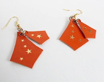 leather and marbled earrings