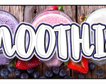 Fruit Smoothies Banner Sign Smoothie Beverage Drink Healthy Health 14oz Vinyl -- MULTIPLE SIZES