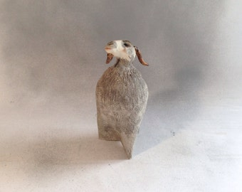 Goat,figurine,sculpture,folkart,animal,ceramic,clay,collectible,signed