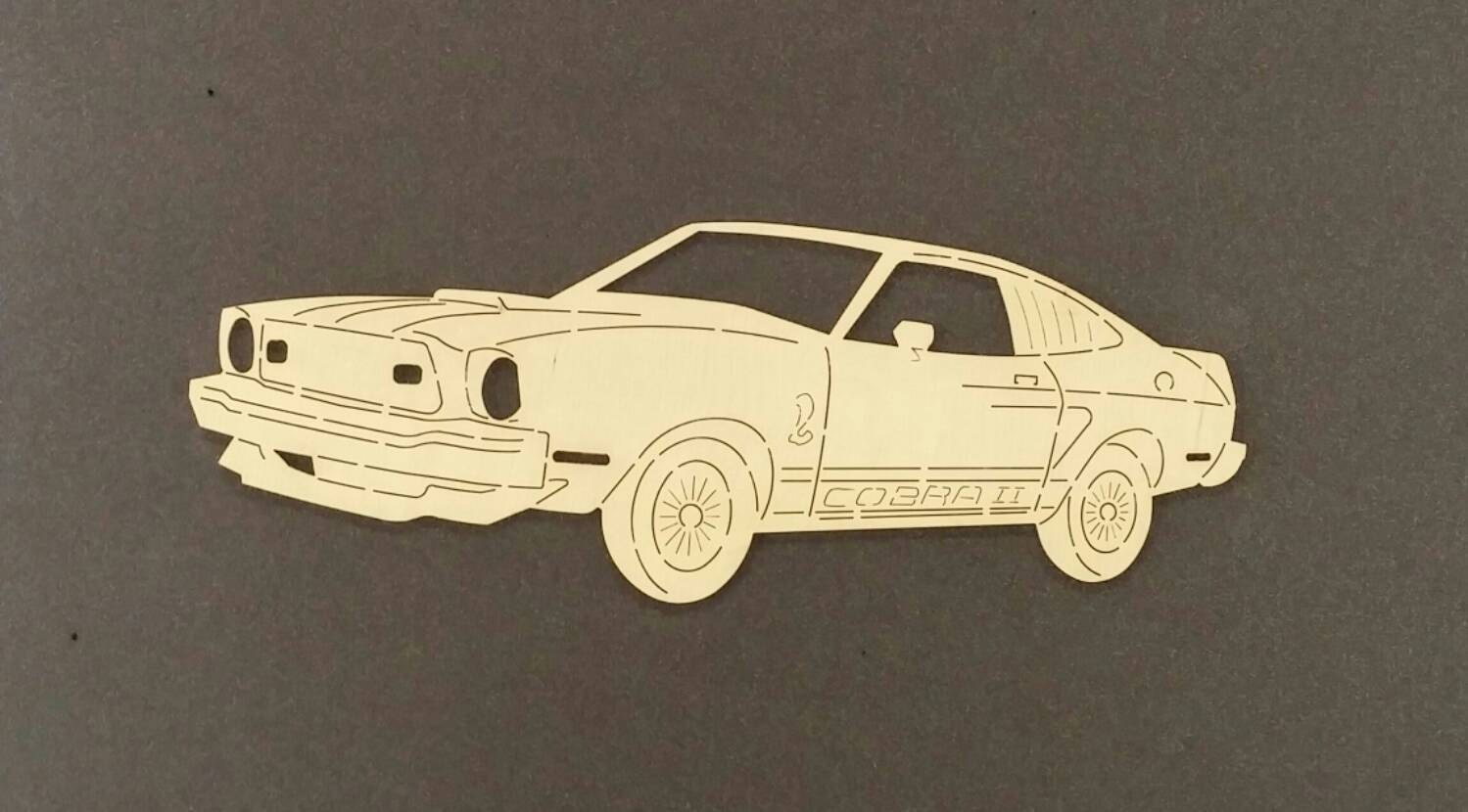 1977 MUSTANG COBRA II Car Wall ArtBirch Wood