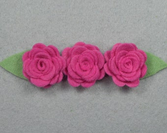 Hair Clip Barrette Made-To-Order -Pink*Felt Flower, Felt Barrette Felt Clip, Flower Hair Clip, Artificial Flower, Fake Flower, Flower Clip