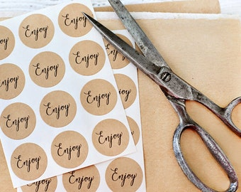 """Set of 24 Enjoy Stickers, 1"""" inch, stickers, paper goods, kraft stickers, packaging, labels, favors, treat bags"""