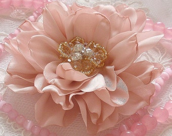 Larger Singed  Flower Singed Rose With Rhinestone Pearl (3 inches) In Moonstone