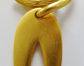 Huge JJ Jonette Kitty Pin With Moving Body Brooch Pin