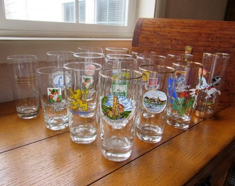 German Beer Tasting Collection Vintage Glassware With Logos, 16 In All