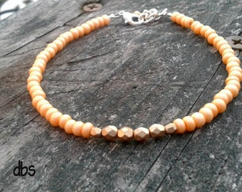 Summer Bracelet, Stackable Bracelet, Simple Bracelet, Boho Bracelet, Orange Howlite Bead Bracelet, Layered Bracelet, Surfer Bracelet