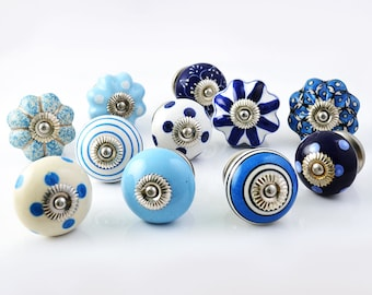 Set of 10 Assorted Vintage Blue and White Hand Painted Ceramic Pumpkin and Round Knobs Cabinet Drawer Handles Pulls