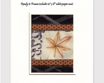Autumn Maple Leaf Crazy Quilt Patchwork Asian Fabric Collage Indigo Kasuri Kanji