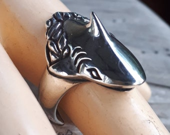 Shark ring,marine jewelry,great white,sterling silver,handmade,fisherman,animal jewelry,