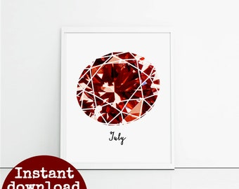 Printable Ruby gemstone, gift for July birthday, Cancer birthday wall picture, unique birthday gift for her.