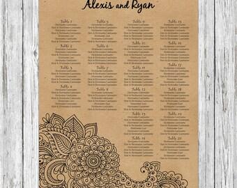 Rustic Henna Wedding Seating Chart Printable, Kraft Wedding Seating Poster, Rustic Indian Wedding Seating Sign, Rustic Wedding Seating Board