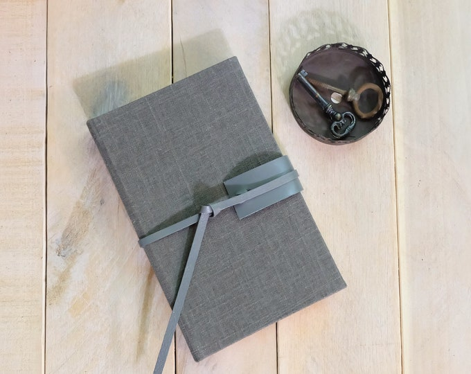 Burlap and Leather Journal or Sketchbook