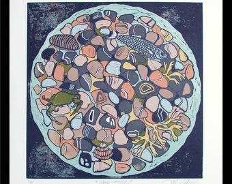 linocut, Low Tide, beach pebbles, stones, beach, rock pool, fish, seaweed, nature print, printmaking, modern art, crab, seaside, ocean