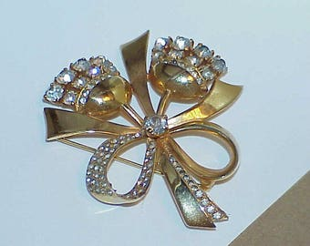 Vintage Coro Sterling Silver Vermeil Bow Flower Brooch Double flower with Rhinestones and gold Vermeil