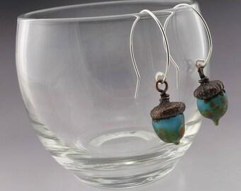 Handmade Acorn Earrings Lampwork Glass Jewelry Glass Aqua Blue Earrings Electroformed Copper Sterling Silver Heather Behrendt SRA 5150