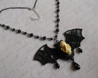bat skull cameo necklace with lace bat wings and black beads chain goth lolita