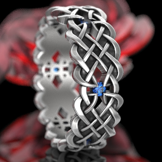 Celtic Wedding Ring With Dara Knot Design With Blue Sapphire Stones in Sterling Silver, Made in Your Size CR-1043