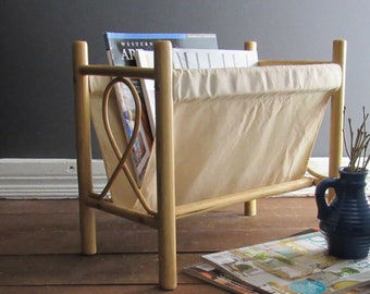 mid century magazine rack - wood with classic caning - mcm