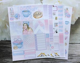 "Planner Sticker Kit / ""Bookworm"" Weekly Kit / Light Skin Tone / Dark Skin Tone /Erin Condren Vertical Kit / A La Carte"