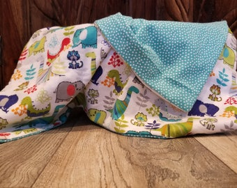 Baby boy mini blanket and burp cloth gift set. Made of cotton flannel. *Ready to ship.