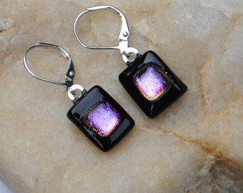 Pink on Black Fused Glass Earrings with Dichroic Accent