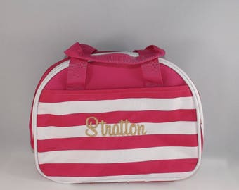Monogrammed Striped lunch bag, Personalized Striped Lunch Bag, lunch box, lunch tote, lunch bag insulated, kids lunch box,  school lunch bag